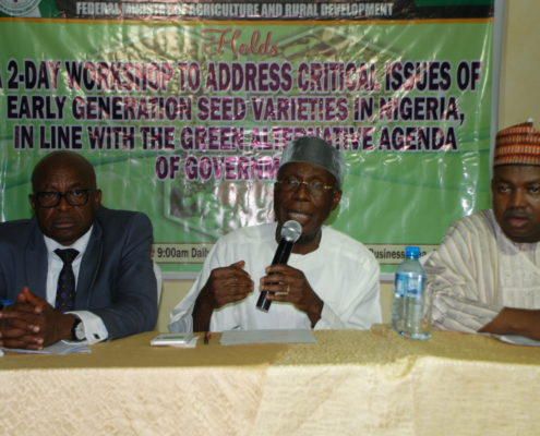 L-R: Dr. Phillip Ojo, Chief Audu Ogbeh, Honourable Muktar Dan Dutse